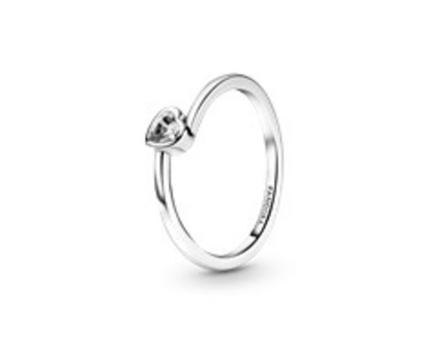 Clear Tilted Heart Solitaire Ring offers at 195 Dhs