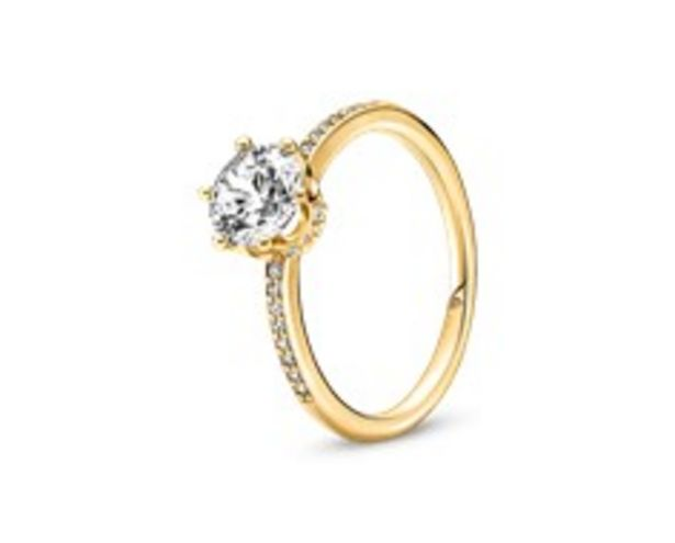 Clear Sparkling Crown Solitaire Ring offers at 395 Dhs