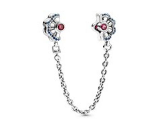 Fan silver safety chain with synthetic ruby, fancy blue cubic zirconia and true blue crystal offers at 395 Dhs