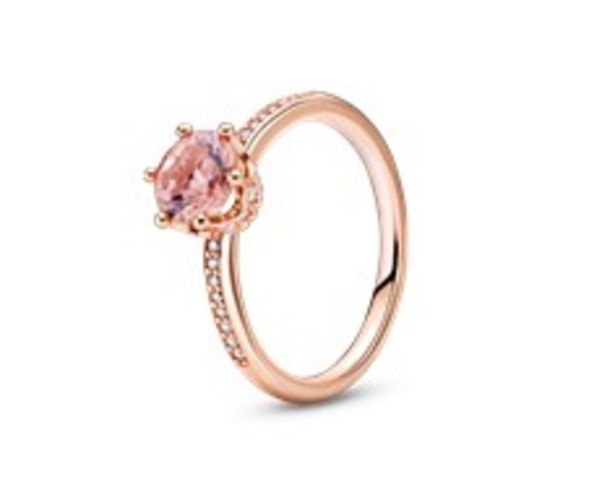 Pink Sparkling Crown Solitaire Ring offer at 395 Dhs