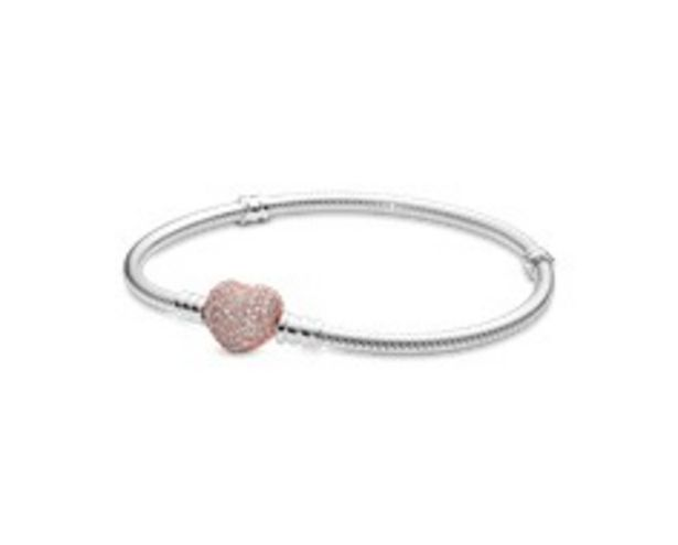 Pandora Moments Pavé Heart Clasp Snake Chain Bracelet offer at 495 Dhs