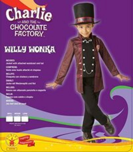 Rubie's (M) Official Willy Wonka Charlie And The Chocolate Factory Costume Child Medium M offer at 199 Dhs