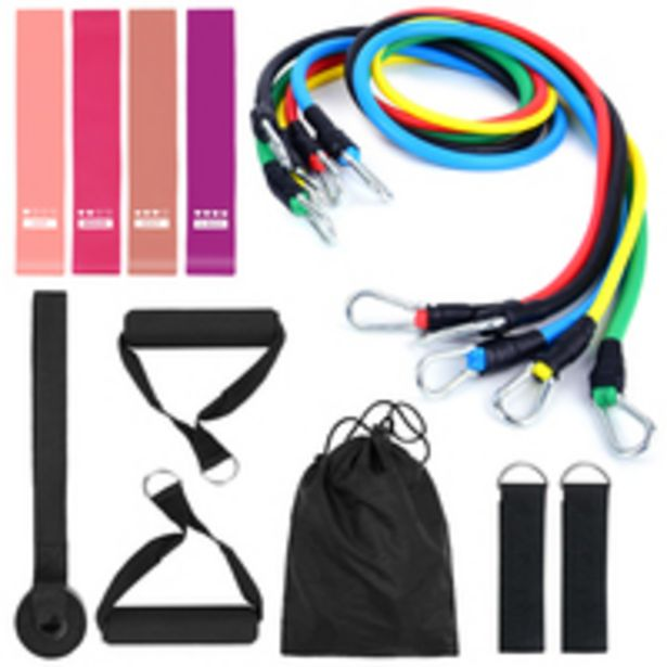 Generic-15Pcs Resistance Bands Set Workout Fintess Exercise Rehab Bands Loop Bands Tube Bands Door Anchor Ankle Straps Cushioned Handles with Carry Bags for Home Gym Travel offer at 59 Dhs