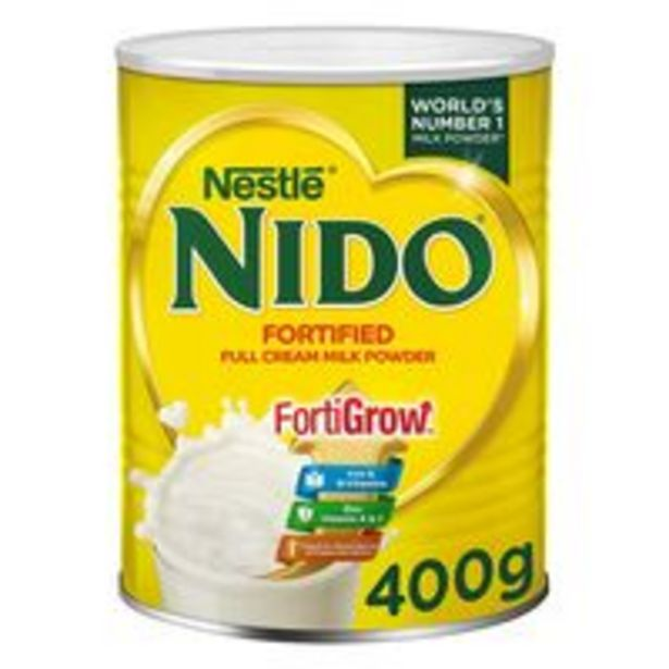 Nestle Nido Fortified Full Cream Milk Powder In Tin Can 400g offer at 16 Dhs