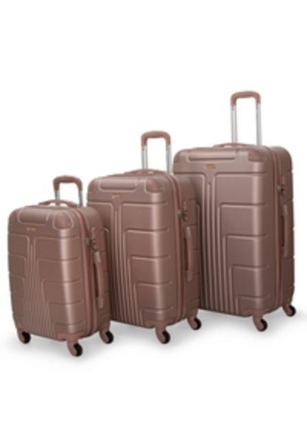 Senator Hardside 3 Piece Set of 4 Wheel Spinner Luggage Trolley in Golden Rose Color A1012-3_ROS offer at 324 Dhs