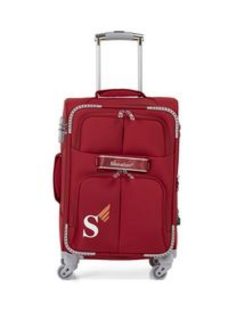 Senator Brand Softside Small Check-in Size 65 Centimeter (24 Inch) 4 Wheel Spinner Luggage Trolley in Red Color LL003-24_RED offer at 99 Dhs