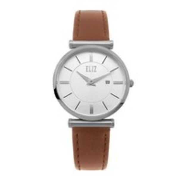 Eliz - Ladies Silver Case Leather Band Watch - ES8634L1SWD offer at 238 Dhs
