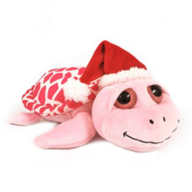Caravaan - Soft Toy Turtle Pink 14cm with Santa Hat offer at 39 Dhs