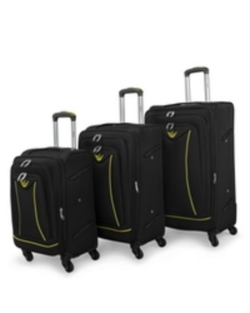 Senator Brand Softside 3 Piece Set of 4 Wheel Spinner Luggage Trolley in Black Color LL032-3_BLK offer at 279 Dhs