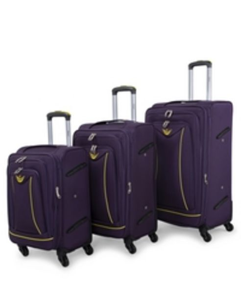 Senator Brand Softside 3 Piece Set of 4 Wheel Spinner Luggage Trolley in Burgundy Color LL032-3_PRP offer at 279 Dhs