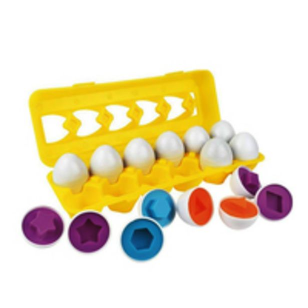 Generic-Children Educational Toys Egg Matching Pairing Wisdom Smart Egg Capsule Color Shape Recognize Blocks offer at 65 Dhs