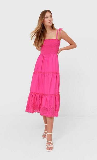 Embroidered midi dress offers at 199 Dhs