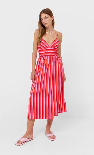 Striped midi dress offers at 199 Dhs