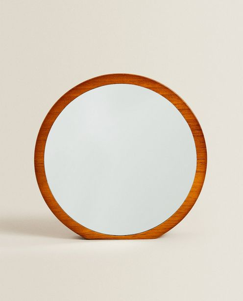Round Mirror With Wooden Frame offers at 159 Dhs