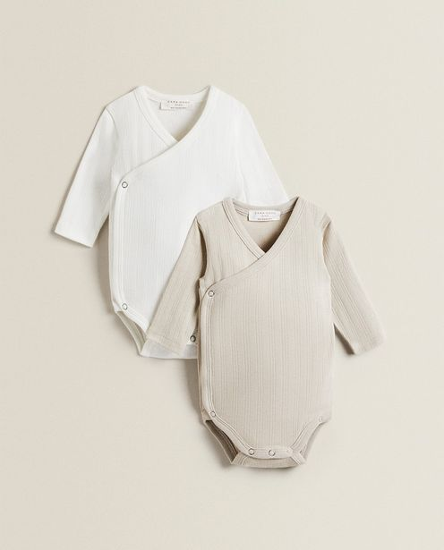 Ribbed Cotton Wrap Bodysuit (Pack Of 2) offers at 129 Dhs
